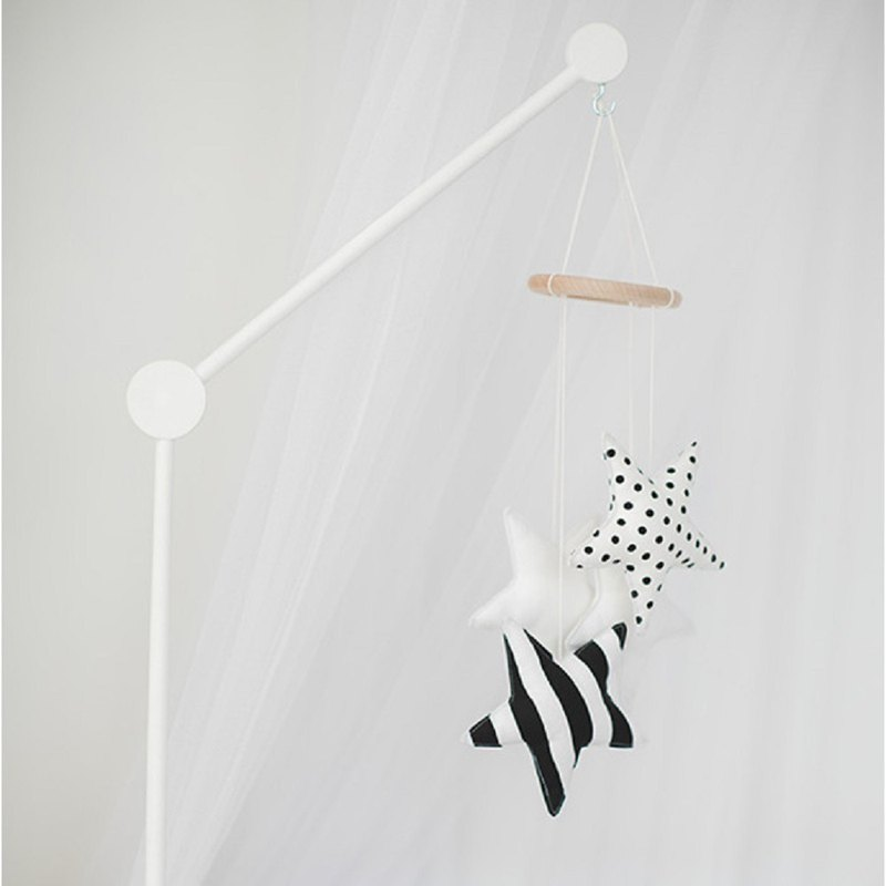 Crib mobile and wooden hanger arm, white and black
