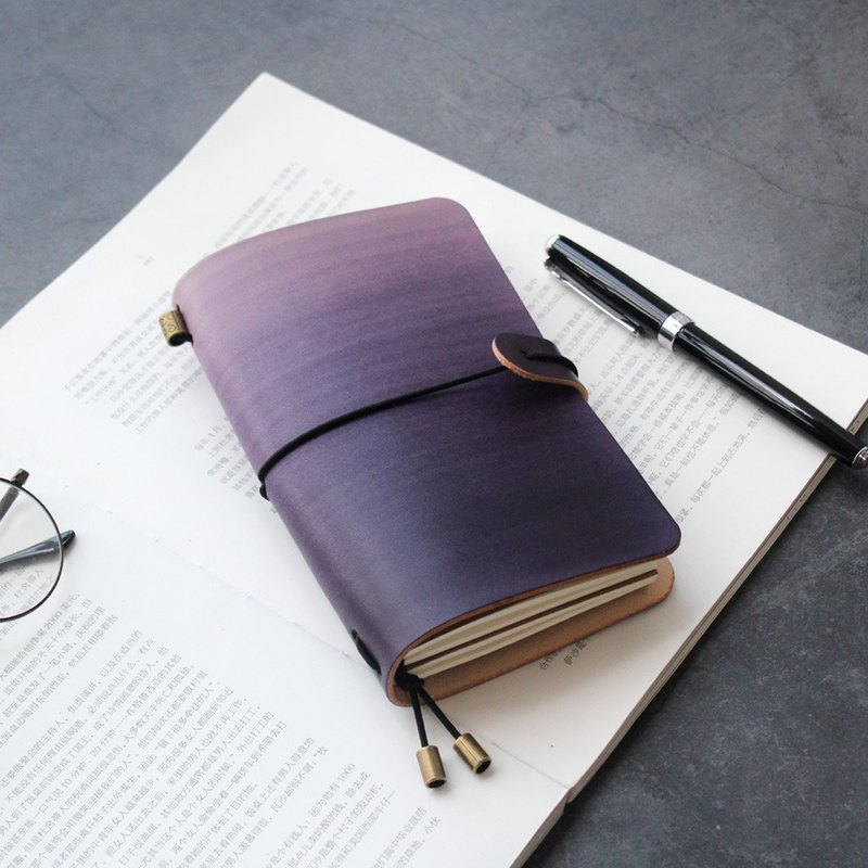 Purple hand book leather notebook diary TN travel book notebook book cover customized
