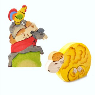 Goody Bag - Russian Building Blocks - Beech Fairy - Bremen Band Jenga + Sheep Family