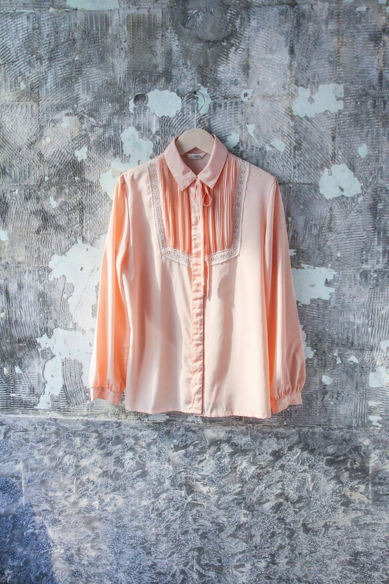 袅袅 Department Store-Vintage Pink Delicate Embroidered Long Sleeve Shirt