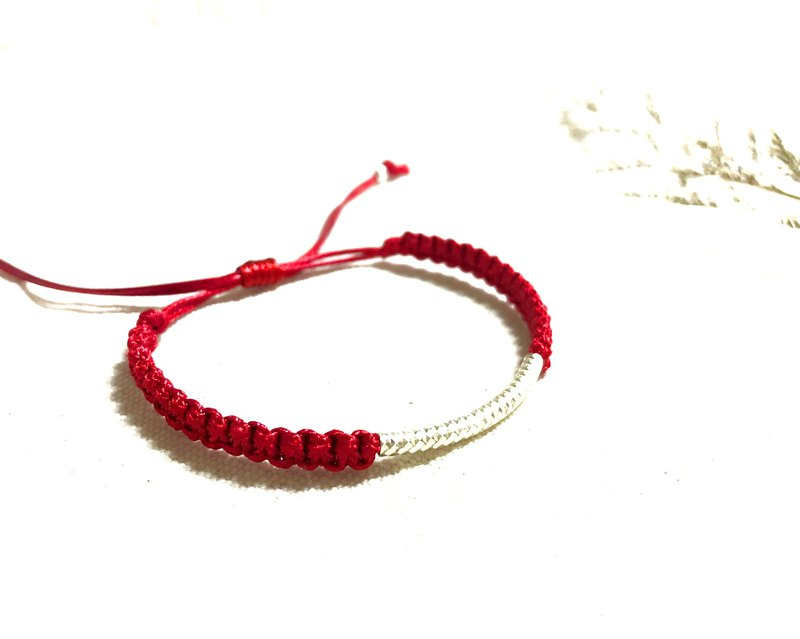 [925 sterling silver] red Japanese rope series (Bracelet / Foot Ring)