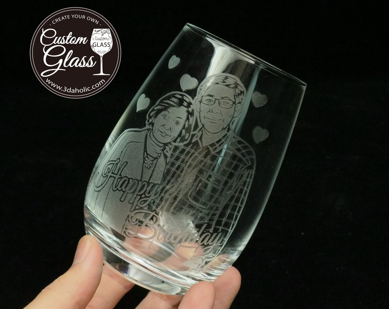 Customized portrait whiskey cup engraving (one) – marriage, retirement, birthday, promotion gift