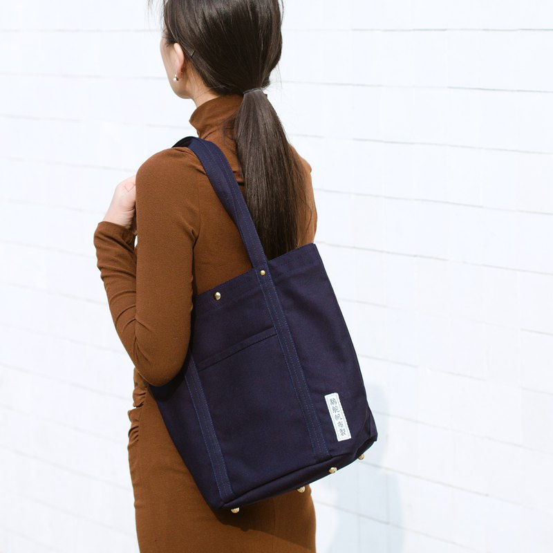 Simple canvas side backpack M-dark blue / handmade single shoulder tote bag / super storage finishing bag