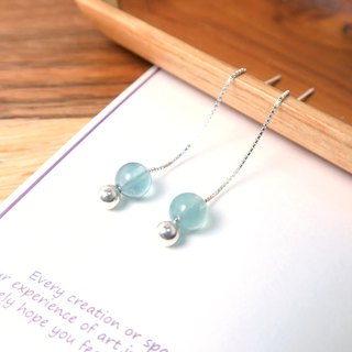 Blue Fluorite Venice Long Chain Earrings (Large) - 925 Sterling Silver Natural Stone Earrings