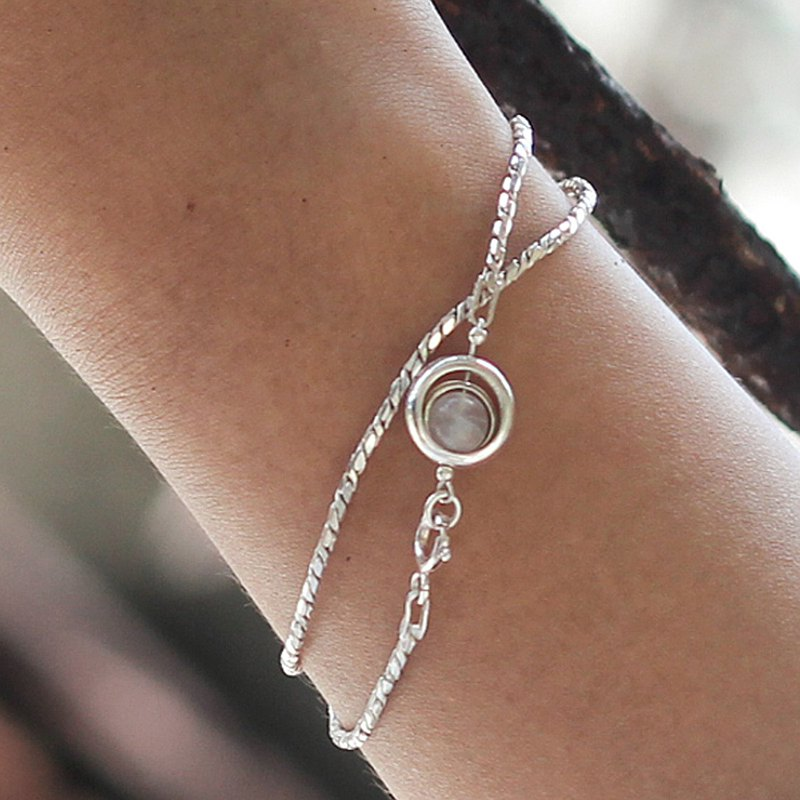 Light track white moonstone. Natural ore sterling silver double circle bracelet minimalist and restrained