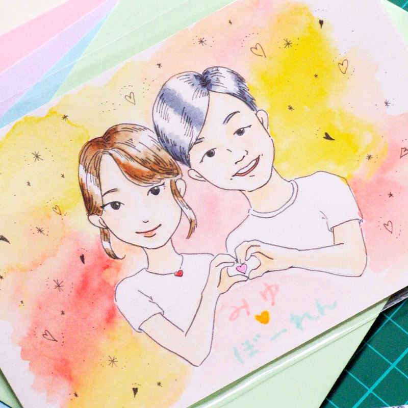 [Customized] Japanese illustrator-like portrait painting portrait portrait card Valentine's Day
