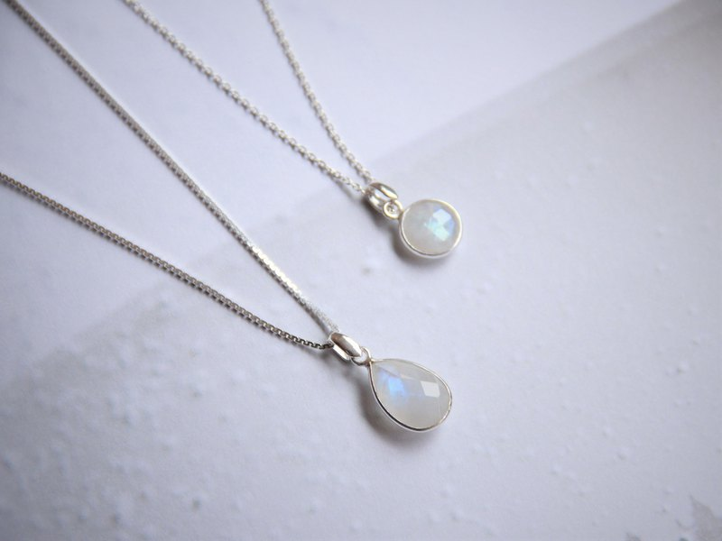 Sterling Silver Geometric Faceted Drop Type Moonstone Fine Necklace