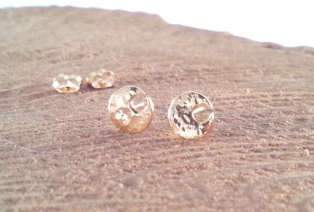 ◇ yen moon ring ◇ K18 forged gold stud earrings