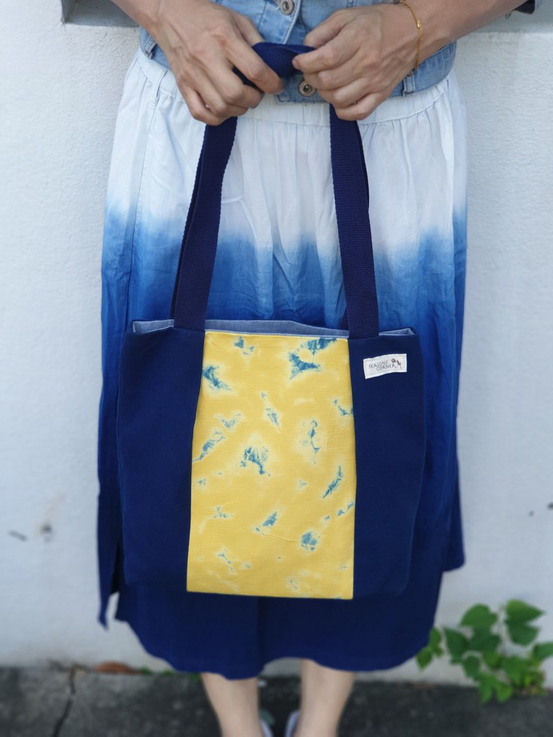 Autumn light cloud yellow blue cotton side backpack / shoulder bag / tote bag