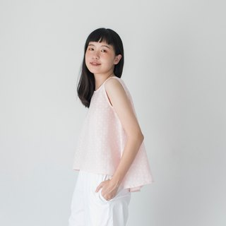 Pink Polka Dot Linen Sleeveless Shirt