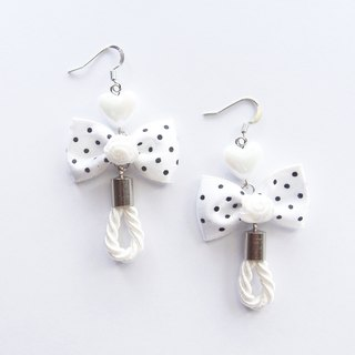 Sweet white polka-dot bow drop earrings