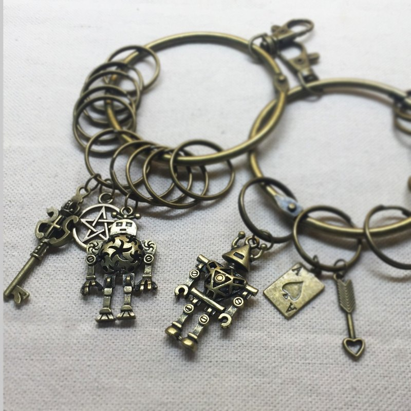 Robots hit version - the old keychain housekeeper - retro distraction KEYRING - pendant optional