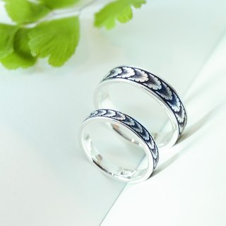 Leaves - Micro engraved Sterling Silver Rings Male Ring