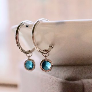 ITS-286 [Earrings Series · crystal glass small round ear earrings circle earrings