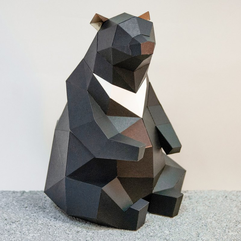 DIY Handmade 3D Paper Model Decoration Taiwan's Endangered Conservation Series-Taiwan Black Bear