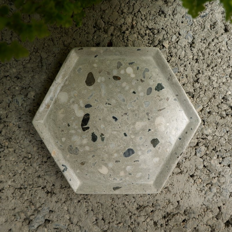 Terrazzo ‧ grindstone plan ‧ grindstone storage dish / coaster - hexagon (grey color) │ Good Form