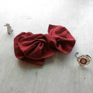 [Shell art] giant butterfly hair band (Japanese ancient cloth dark red section) - the entire detachable!