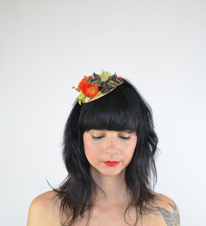 Headpiece Fascinator with Yellow Butterfly Silk Poppy Flowers in Orange