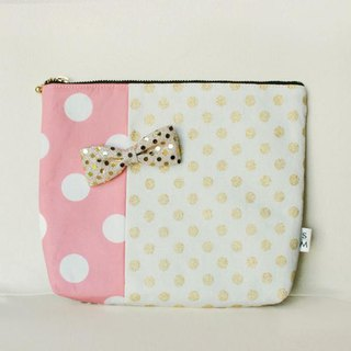 pouch dots pink golden glitter ribbon brooch Chief