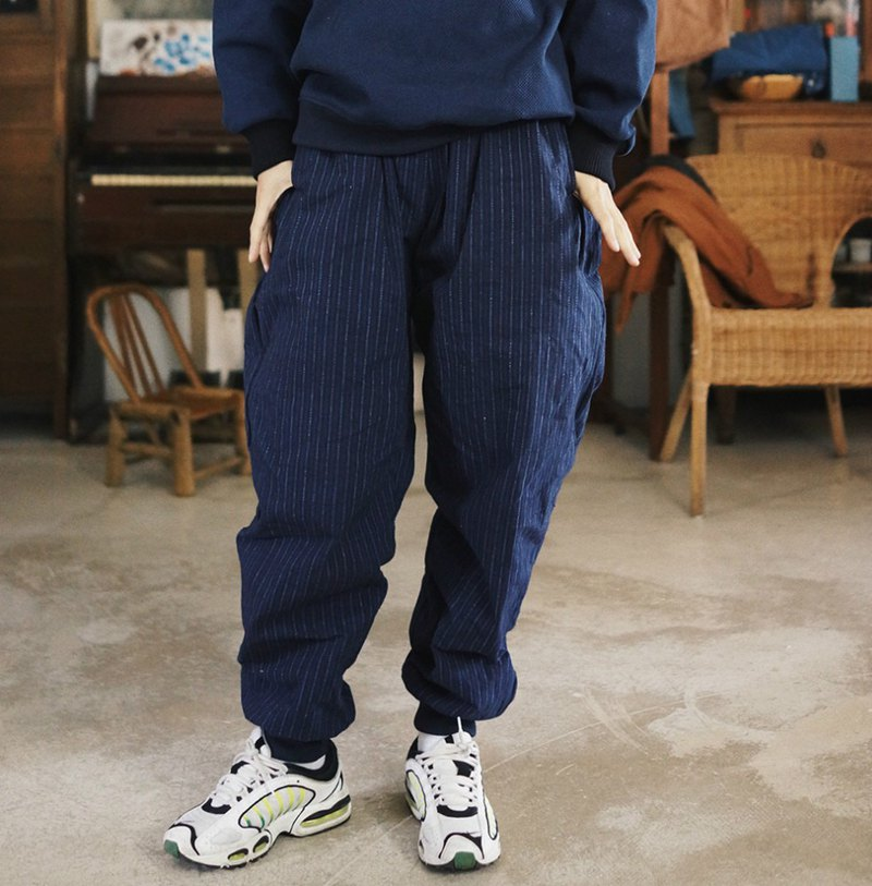 Dark blue striped loose-legged radish pants with adjustable elastic waist sports wide pants master pants casual pants
