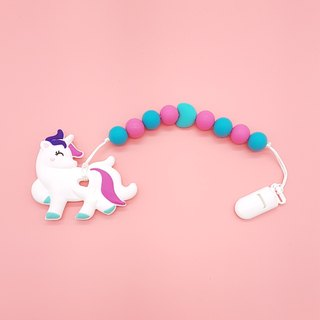 Baby Teether Clip Set - Hot Pink Unicorn