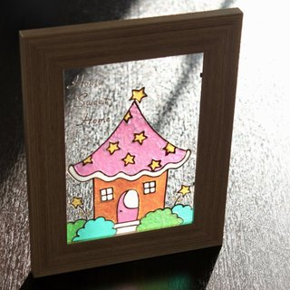 Cute Star Cottage Stained Glass Painting・Customized Art Gift for Wedding