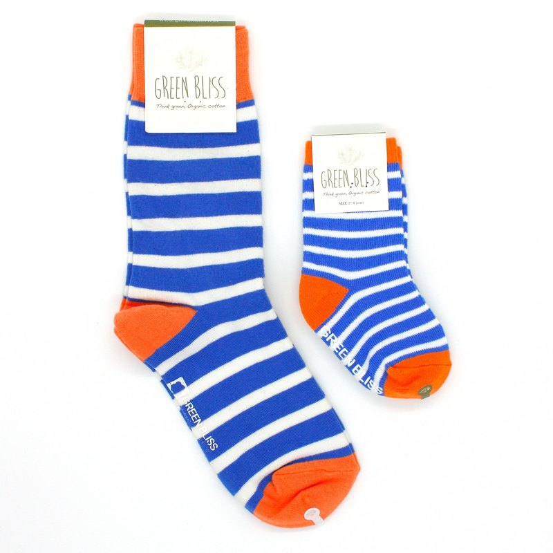 Parent-Child Discount Package Baobab Orange Blue White Stripe Stockings Parenting Socks (Neutral)