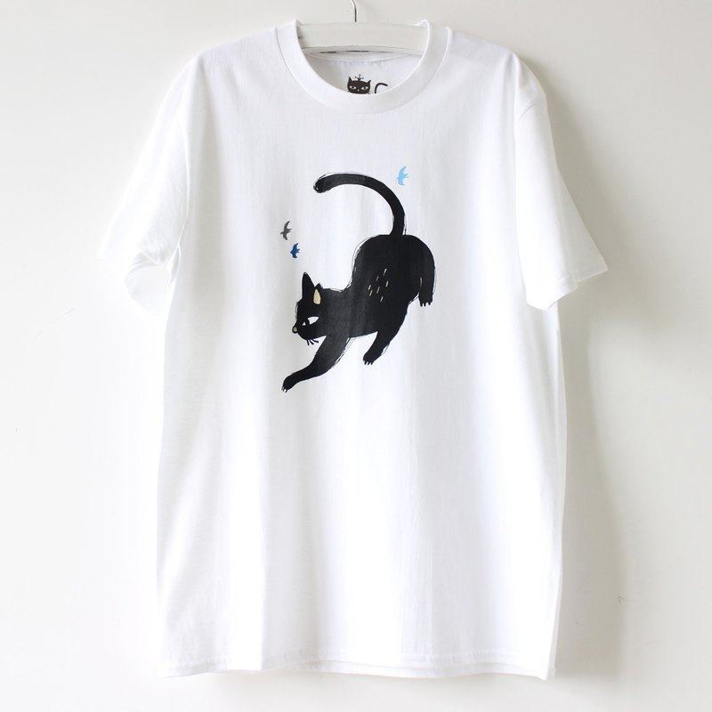 Naughty Black Cat Screen Print T shirt I Cat Lover