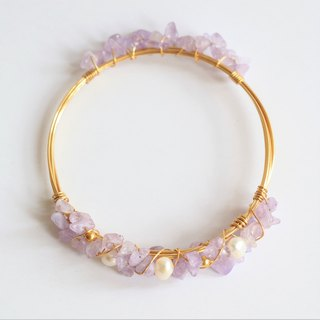 Amethyst and pearl wire wrapped bracelet - Amethyst bracelet 18k gold plated