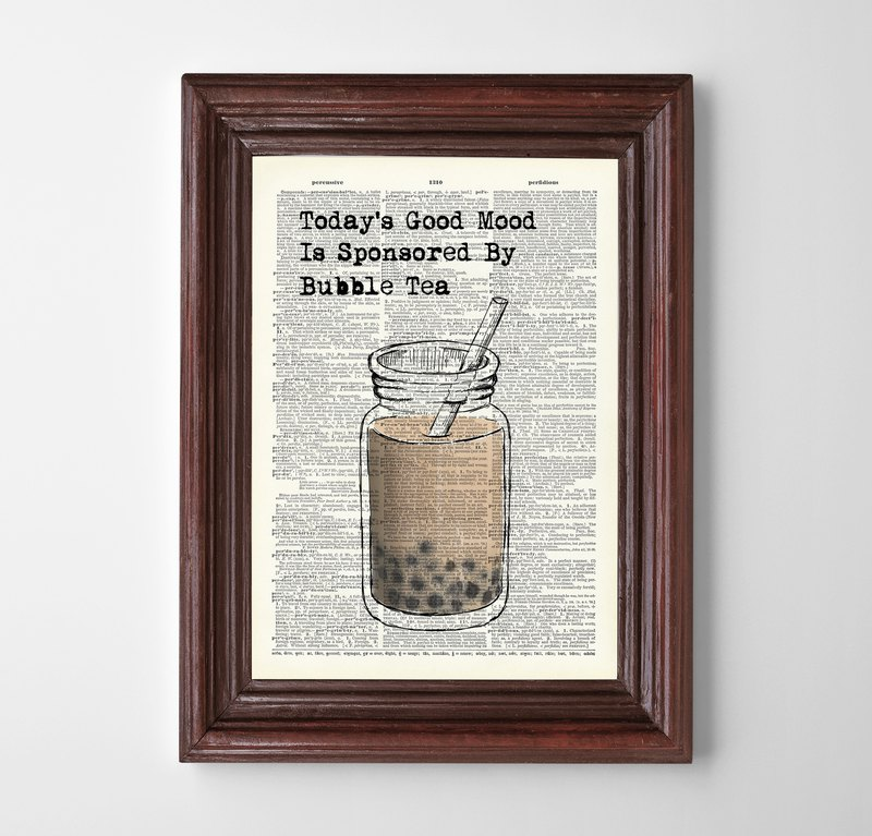 Bubble tea print customizable poster