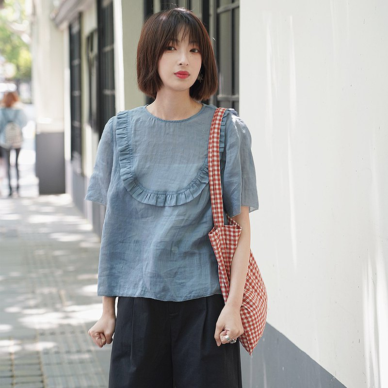 Short-sleeved shirt with ramie ears | Shirt | Summer | Ramie | Sora-487