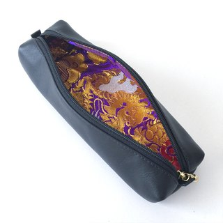 Leather pen case with Japanese Traditional pattern, Kimono  [Brocade]