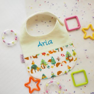 """Togetherness""Handmade Name Embroidery Baby Bib - White Hedgehog Style"