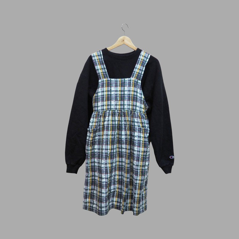 Vintage green plaid vintage strap dress