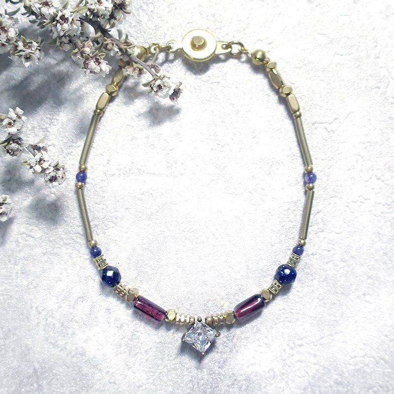 VIIART. Years of solar terms - small heat. Pomegranate blue sand stone zircon brass bracelet