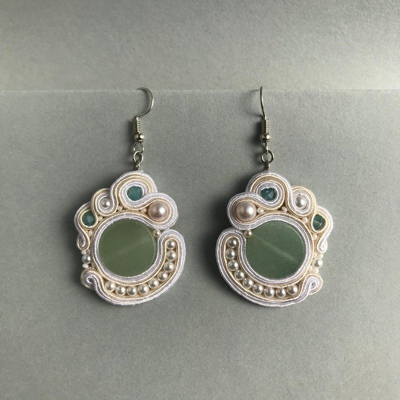 Soutache earrings green princess