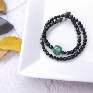 [The only product] old turquoise*black crystal*double bracelet