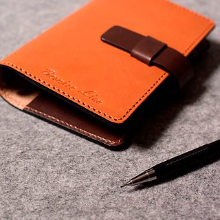 YOURS handmade leather leather loose-leaf notebook-style plug slightly --A7-Size color with dark wood color green leather +
