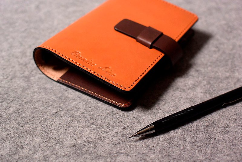 Leather loose-leaf notebook insert slightly dark wood leather + green