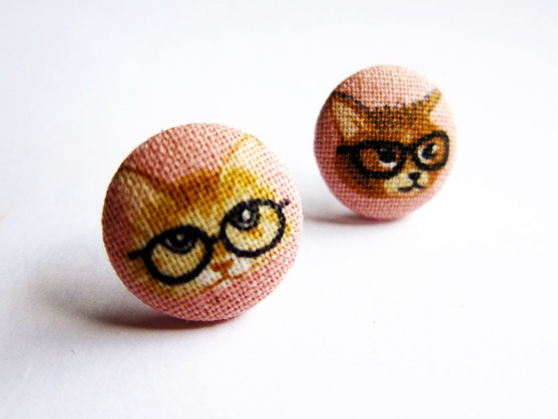 Cloth earrings, glasses, cats, clip-on earrings