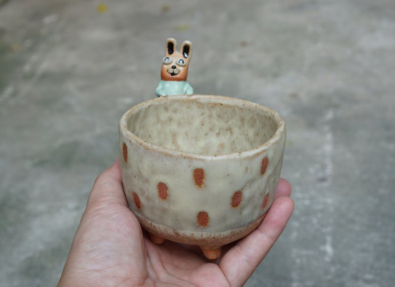 Rabbit pot , cactus , handmade ceramic , pottery