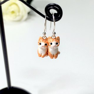 Tiny Orange Cat Earrings, Dangle & Drop Earrings, cat lover gifts