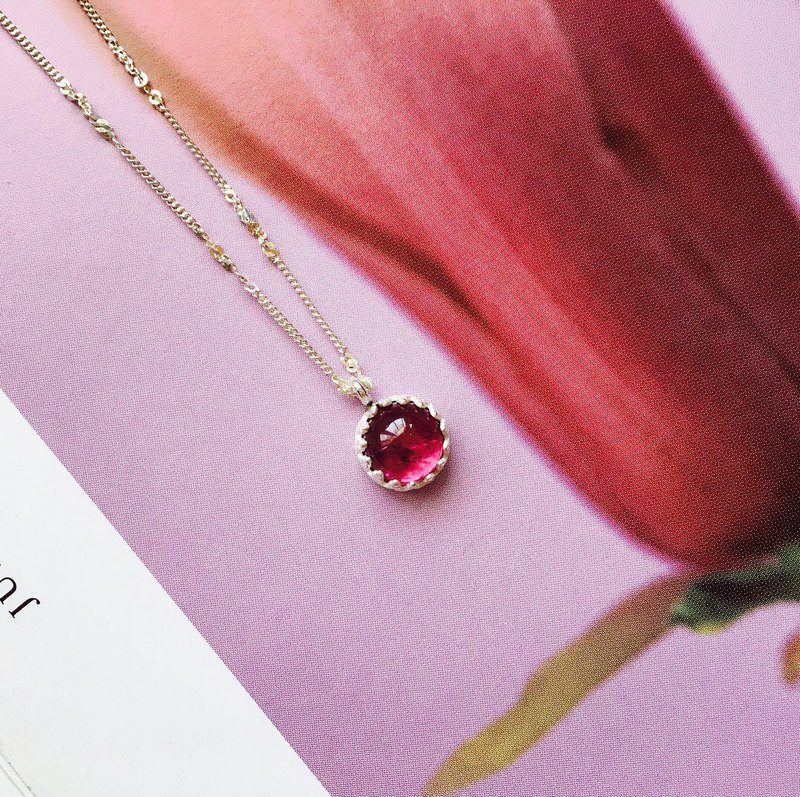 "925 sterling silver berry taste ""candy tourmaline necklace"""