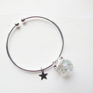 Rosy Garden prism white cat water inside glass ball bangle