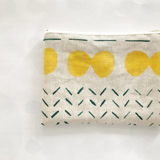moshimoshi | linen zipper cosmetic bag - yellow cell division