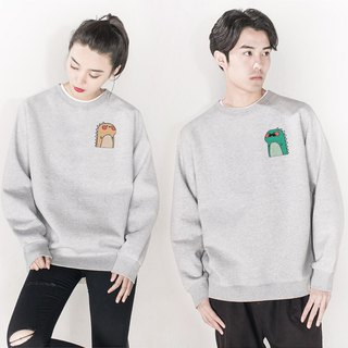 Male Dino Female Dino couple Gray sweatshirt