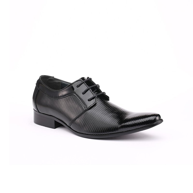 Kings Collection Sabel Plain Toe Derby Patent Leather Shoes KV80041 Black