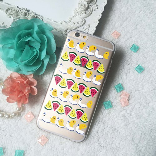 WATERMELON CHICK Clear TPU silicone Phone Case phone X 8 8+ 7 S8 plus S7 edge