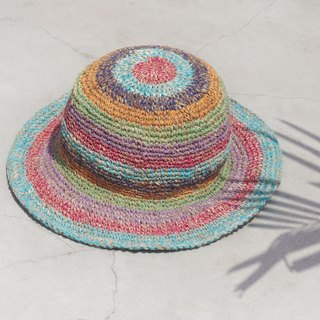 Limited edition handmade knitted cotton hood / weaving hat / fisherman hat / sun hat / straw hat - Choi Ha sky South America colorful striped handmade hat