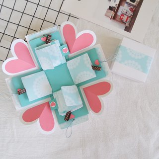 Sweet Home Gift Box Card - Classic Tiffany Style - White Box x 2 Side Flip Card - Handmade Card / Valentine's Day Card / Explosion Card / Explosion Box
